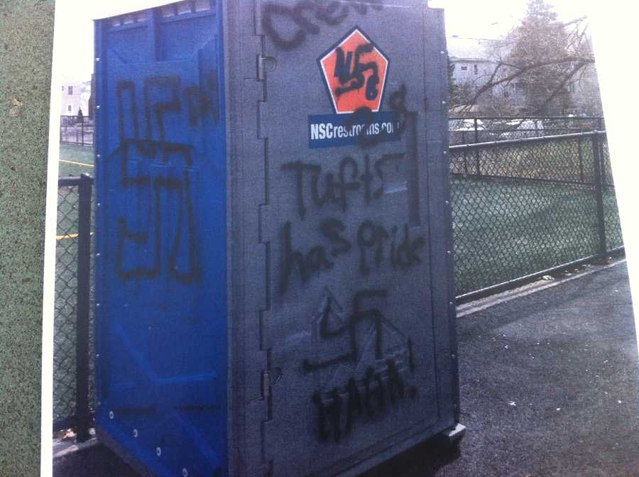 Police are searching for the vandals who scrawled hateful works and images across Medford.
