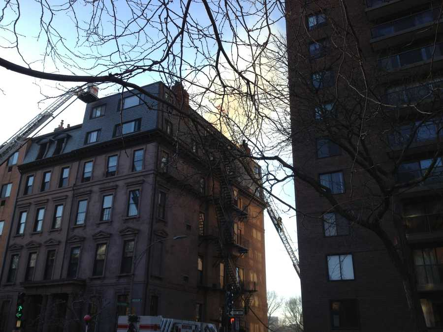 Smoke and fire was reported coming from a structure in Boston's Back Bay neighborhood Monday evening.
