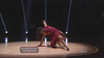 "Her athletic contemporary dance won rave reviews from the judges. Goodman said it was a dance ""worthy of an Olympic champion,"" while Tonioli said it was emotionally intense, dramatic and deeply felt."