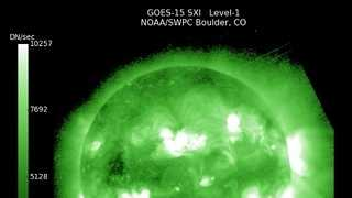 Latest GOES-15 satellite image of the sun showing flare activity.