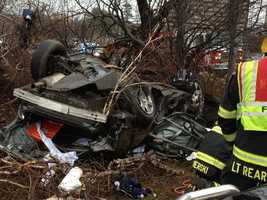 One person was killed in a crash on Route 128 in Danvers early Saturday morning.