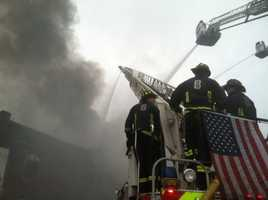 The buildings were in the process of being torn down, according to the Boston Fire Department.