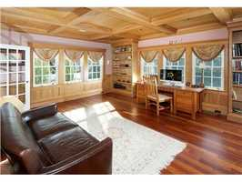Many rooms feature custom built-ins.