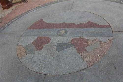 From Hopkinton to Boston... the route of the annual Boston Marathon preserved in stone in Copley Square in Downtown Boston.