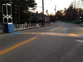 A quiet start line in Hopkinton as the sun rises