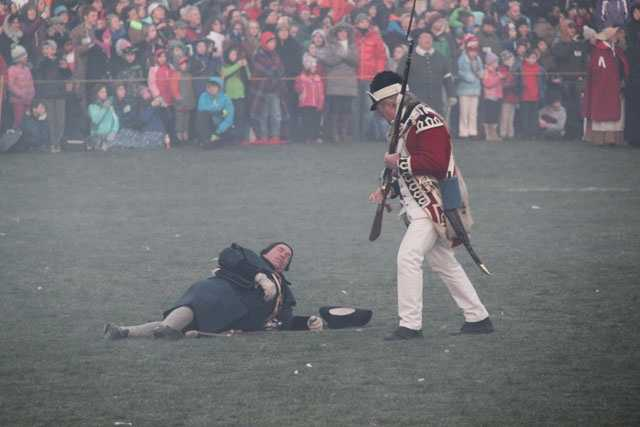 Of the members of the Lexington training band, eight were killed.