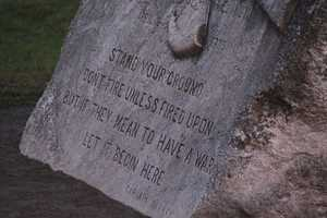 The stone on Lexington Green that commemorates the battle.