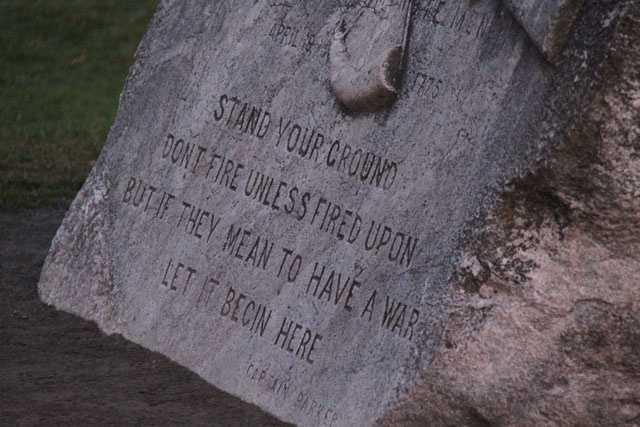 The stone on Lexington Green that commemorates the battle.