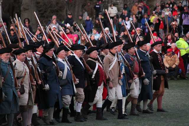 In 1775, about 80 Lexington militiamen emerged from the Buckman Tavern to await the British.