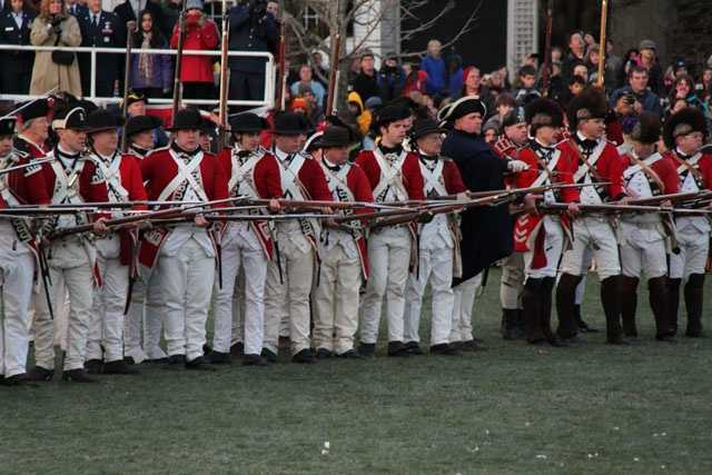 The British arrived on Lexington Green at sunrise on April 19, 1775.