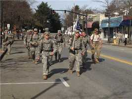 Members of the Rhode Island National Guard walking the entire 26.2 mile course. They are raising money for the wounded warrior Project.