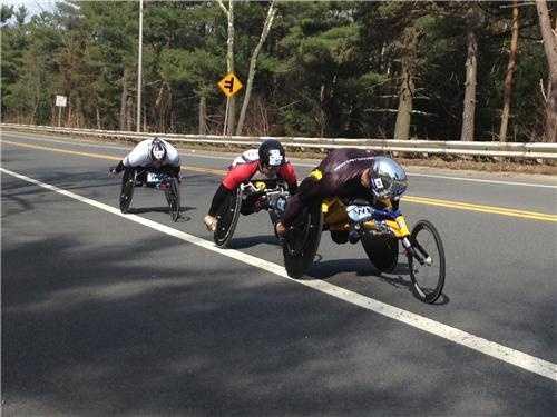 Wheelchair racers in Wellesley