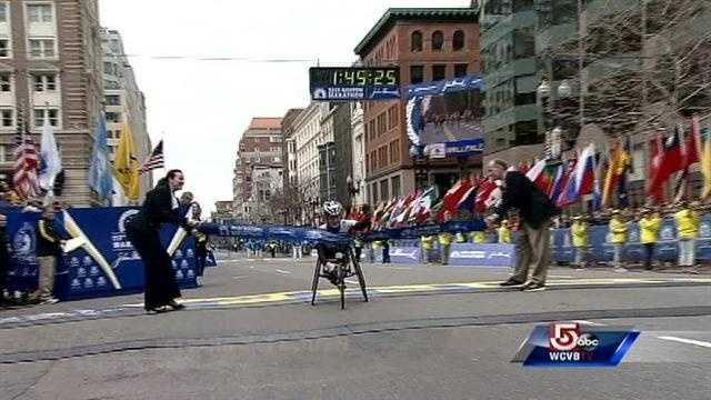 Tatyana McFadden crosses the finish line in 1:45:25