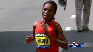 Rita Jeptoo is the winner of the women's division.