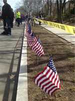 Flags mark the course in Newton