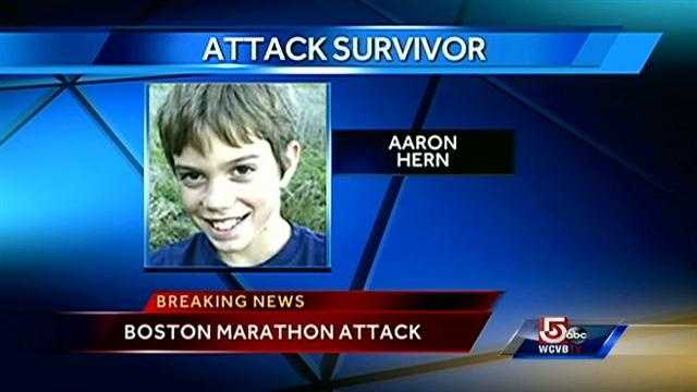 Aaron Hern, 11, of San Francisco, was waiting for his mom to finish the race. He was wounded by shrapnel.