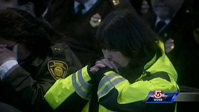 Members of Boston's first responders were at the service.