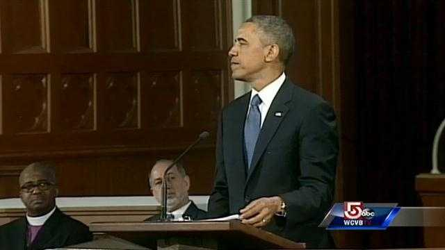 """""""Everyone of us has been touched by this attack on your beloved city,"""" Obama said."""
