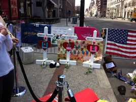 Crosses for the three victims who were killed.