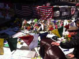 A make-shift memorial is set up in Boston.