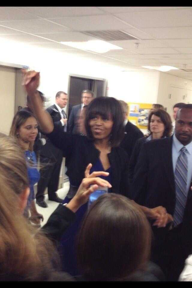 The First Lady visits with hospital patients.