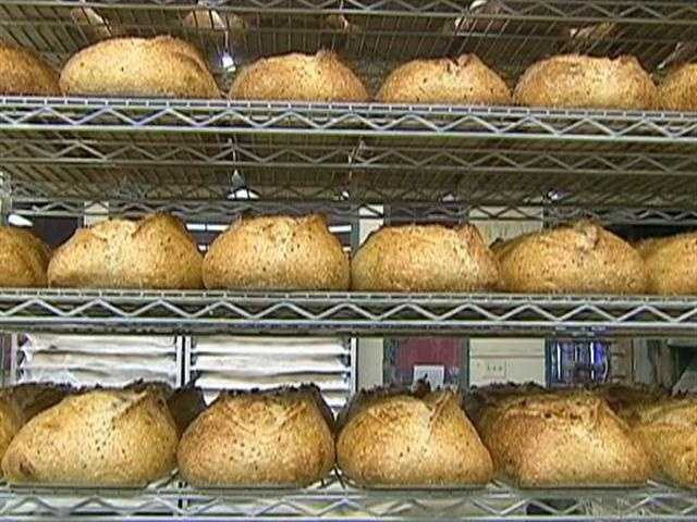 In two nine-door French ovens, the bakery makes 7,000 loaves of artisanal bread, daily.