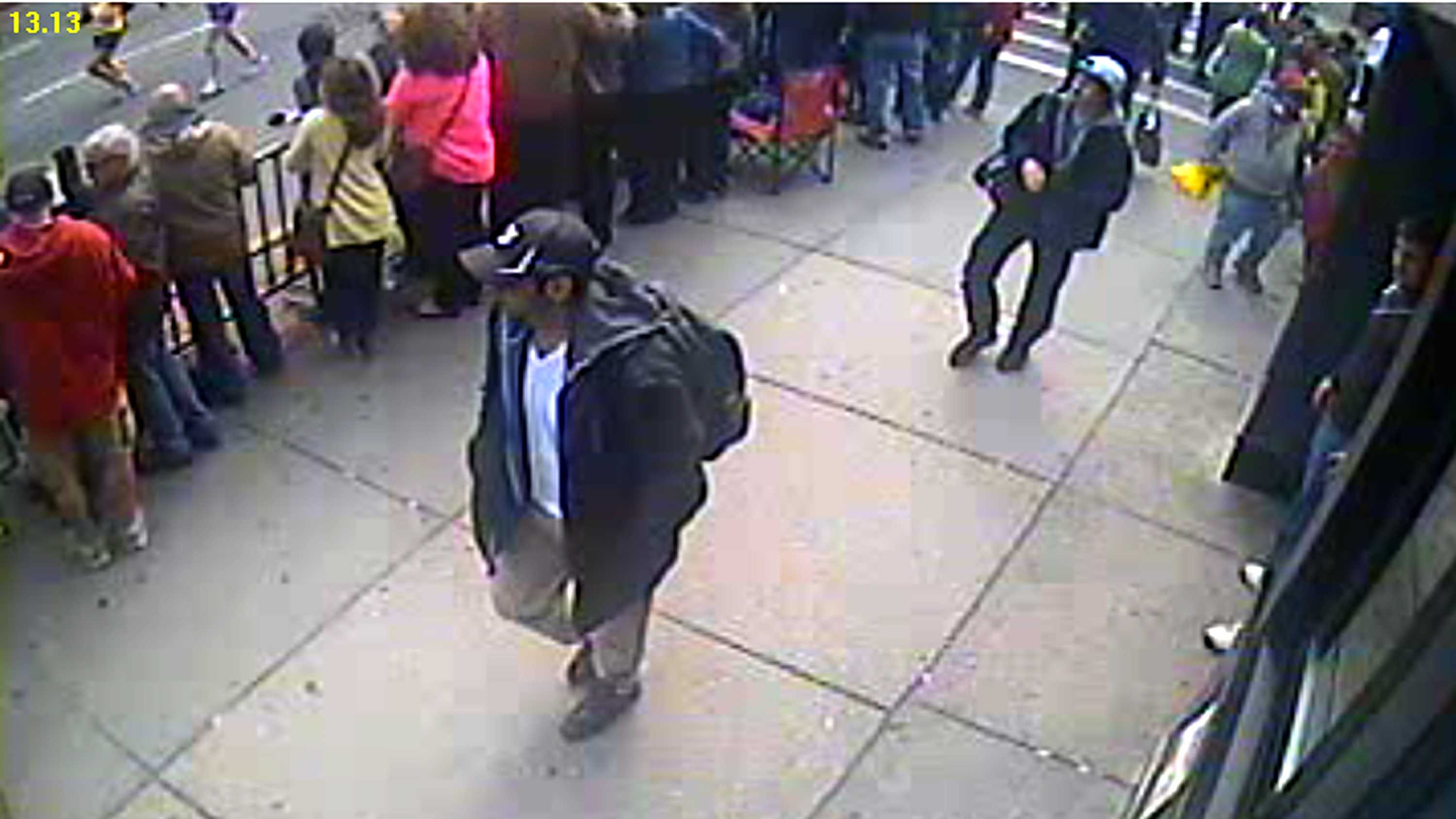 The FBI has released photos of two suspects in the Boston Marathon bombings and is asking for the public's help in identifying them. This is a picture of suspect #1.