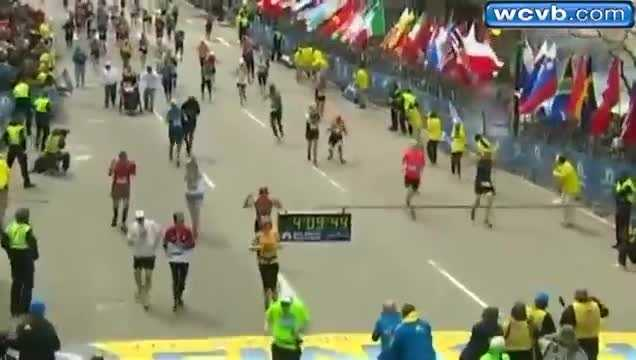 Another camera angle -- from the finish line -- captured the bombing as it happened at 2:50pm.