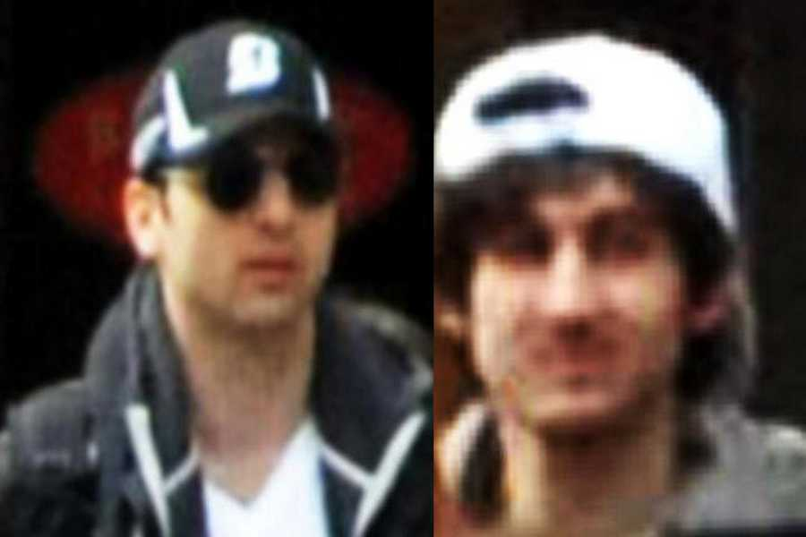 The FBI released these two new photos of the suspects sought in Monday's bombing of the Boston Marathon. The man on the left has been identified as Suspect 1&#x3B; the man on the right as suspect 2.