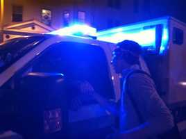 """Mission Hill. """"Over 100 college students gathered in an intersection to celebrate and give thanks to the law enforcement who worked so hard this week. During the celebrating at least 4 BPD cruisers and a paddy wagon came up lights on. Everyone gathered and shook their hands."""""""