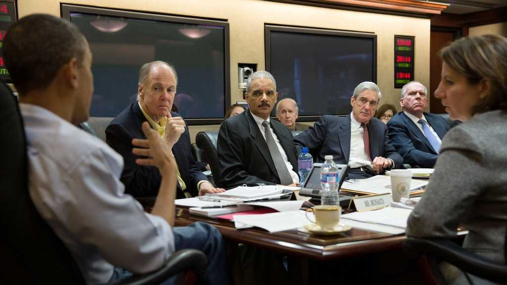 President Barack Obama holds meeting in Situation Room on the ongoing investigation in the Boston Marathon bombing, April 20, 2013. From left at the table, National Security Advisor Tom Donilon, Attorney General Eric Holder, FBI Director Robert Mueller, Director of CIA John Brennan, and Lisa Monaco, Assistant to the President of Homeland Security and Counterterrorism.