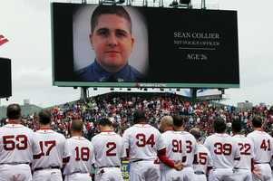 MIT officer Sean Collier is honored at Fenway Park on Saturday
