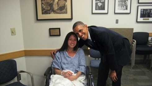 Kaitlynn Cates with Obama
