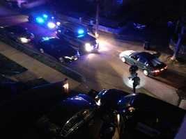 Watertown residentAndrew Kitzenberg took these pictures of the suspected Marathon bombers' shootout with police.