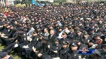 Rows of law enforcement.