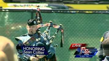 """Bagpipers play """"Amazing Grace"""""""