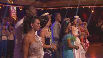 The stars first danced their individual routines with their pro partners and, in a format twist, co-host Tom Bergeron announced that the star with the highest judges' score from that routine would be safe from elimination this week.
