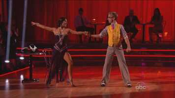 """He cracked up the crowd playing a (comedic) Latin lover, caressing and trying to kiss Sharna. Len liked """"the fun of the dance,"""" but it was """"more erratic than erotic."""""""