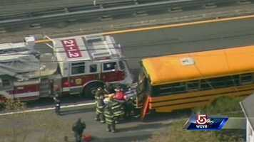 Five people received minor injuries in a school bus crash in Newton on Tuesday.