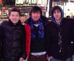 Azamat Tazhayakov (left) and Dias Kadyrbayev (center) are charged with conspiring to obstruct justice. A third man, Robel Phillipos (not pictured here), is charged with making false statements to federal investigators.