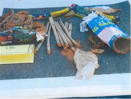 Inside the backpack, agents recovered fireworks, a jar of Vaseline and a UMASS-Dartmouth homework assignment sheet, among other things.