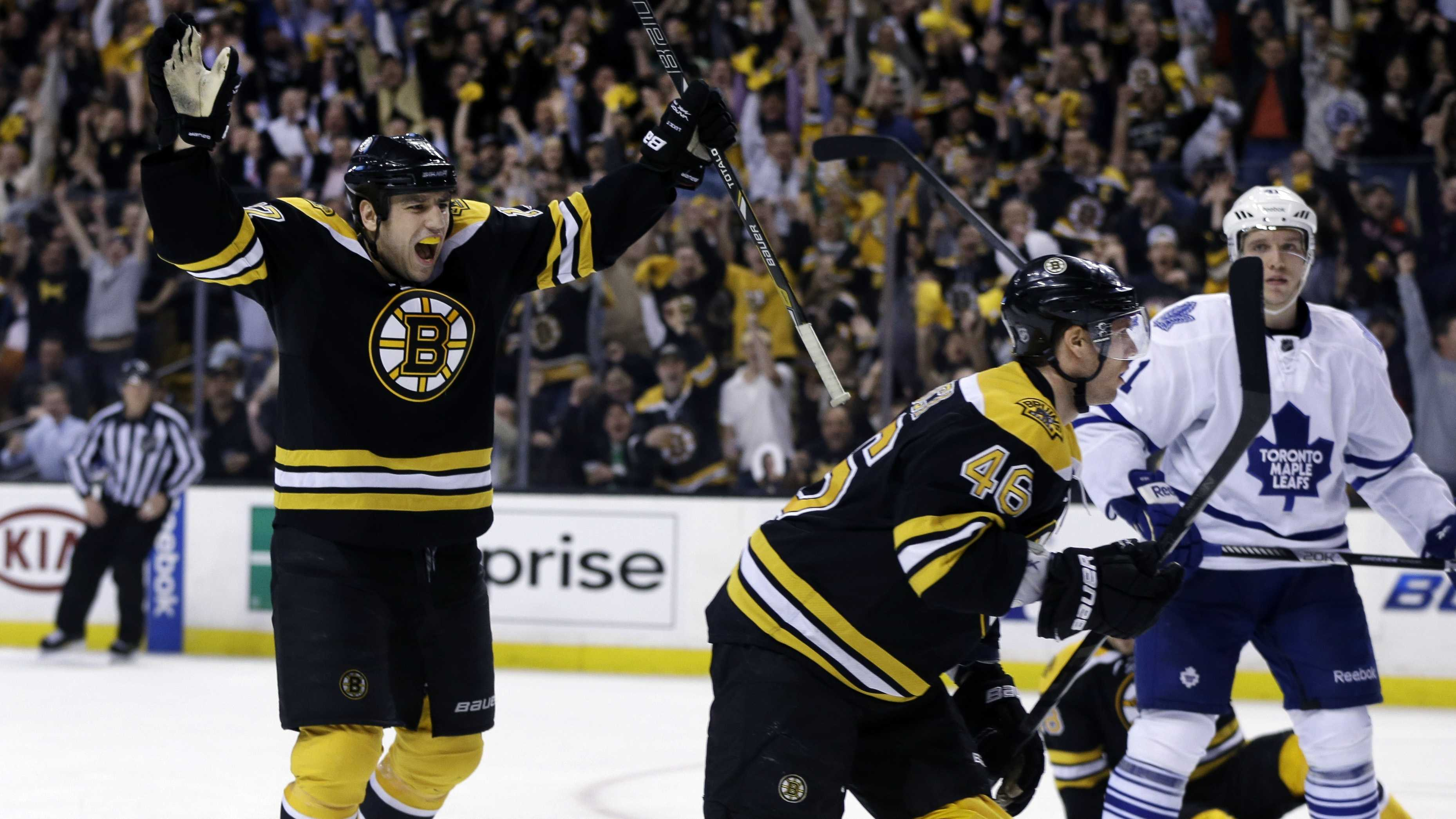 Boston Bruins left wing Milan Lucic, left, celebrates a goal scored by center David Krejci (46) as Toronto Maple Leafs left wing Nikolai Kulemin (41) looks on during the second period in Game 1 of a first-round NHL hockey playoff series, May 1, 2013.