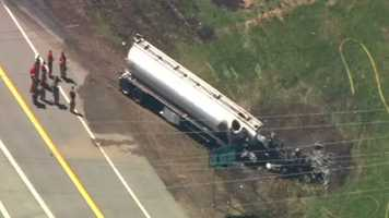 Police say the driver of the tanker — 54-year-old Jeffrey Cloran of Becket, Mass. — was treated for minor injuries and released from the hospital.