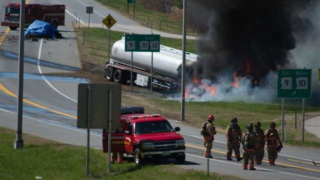 Keene police say 32-year-old Douglas Farr Jr. and 35-year-old Erin Breault — both of Hinsdale — died in the fiery crash on Route 12 near the Route 9 East ramp.