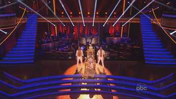 The second dance was a trio dance. Each couple selected one of the professional dancers that were voted off the show in prior weeks.