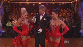 Sean Lowe and Peta Murgatroyd and Sharna Burgess performed the jazz