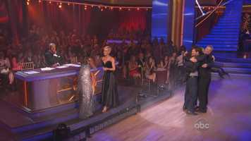 Carrie Ann shrieked and danced and hugged Kellie after the dance, however the look on Len's face shows his mood quite well.