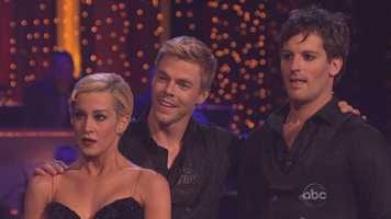 A somewhat stunned Kellie Pickler listens to Len's comments. Derek Hough seems used to the verbal assault from the judge.