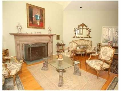 The living room has a fireplace.