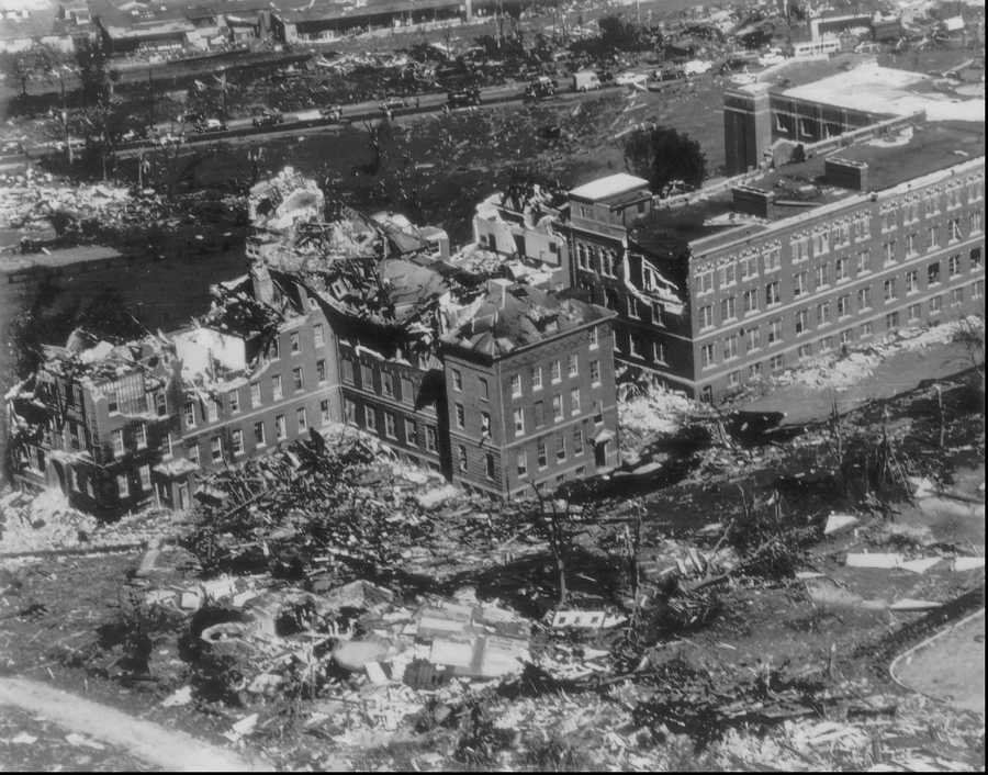 This is a June 10, 1953 photo showing an aerial view of the tornado ravaged Assumption College campus in Worcester.